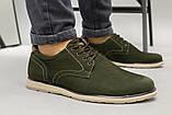 Чоловічі туфлі з нубука кольору хакі, на шнурках, фото 4