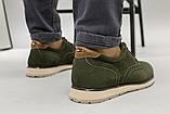 Чоловічі туфлі з нубука кольору хакі, на шнурках, фото 5