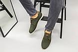 Чоловічі туфлі з нубука кольору хакі, на шнурках, фото 6