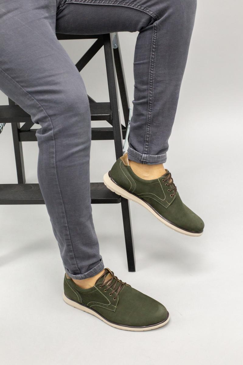 Чоловічі туфлі з нубука кольору хакі, на шнурках