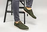 Чоловічі туфлі з нубука кольору хакі, на шнурках, фото 7