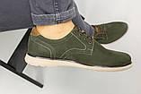 Чоловічі туфлі з нубука кольору хакі, на шнурках, фото 8