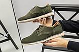 Чоловічі туфлі з нубука кольору хакі, на шнурках, фото 10