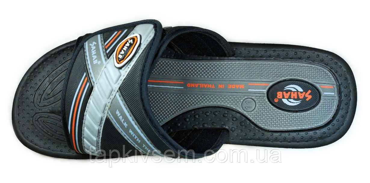 Мужские шлёпанцы Sahab (оригинал) производитель Таиланд Код: SH20-001M black-orange 45
