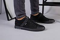 Мужские черные кожаные кеды, фото 1