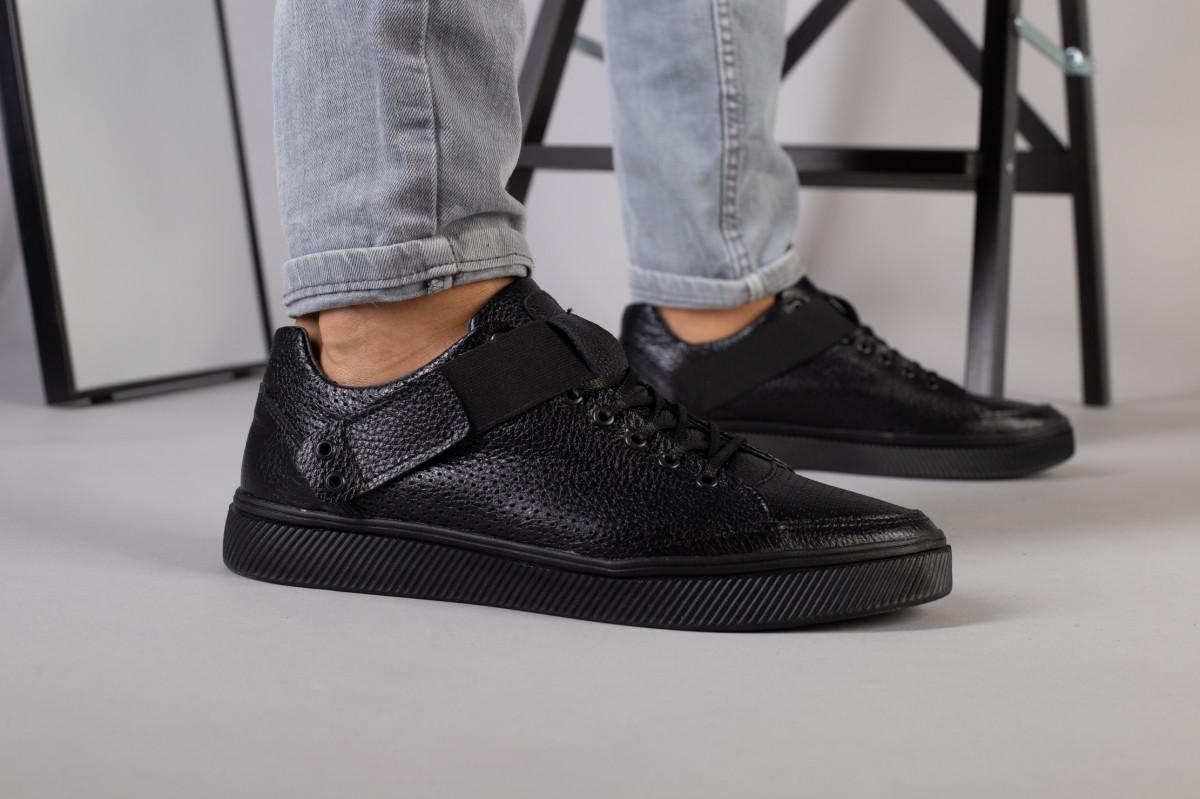 Мужские черные кожаные кроссовки с перфорацией