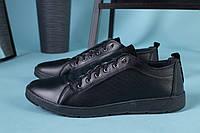 Мужские черные кожаные спортивные туфли, фото 1