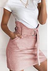 Бежевая женская мини юбка вельветовая с поясом на талии и карманами, фото 3
