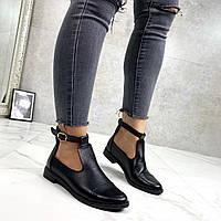 Женские ботинки ДЕМИ открытые черные натуральная кожа, фото 1