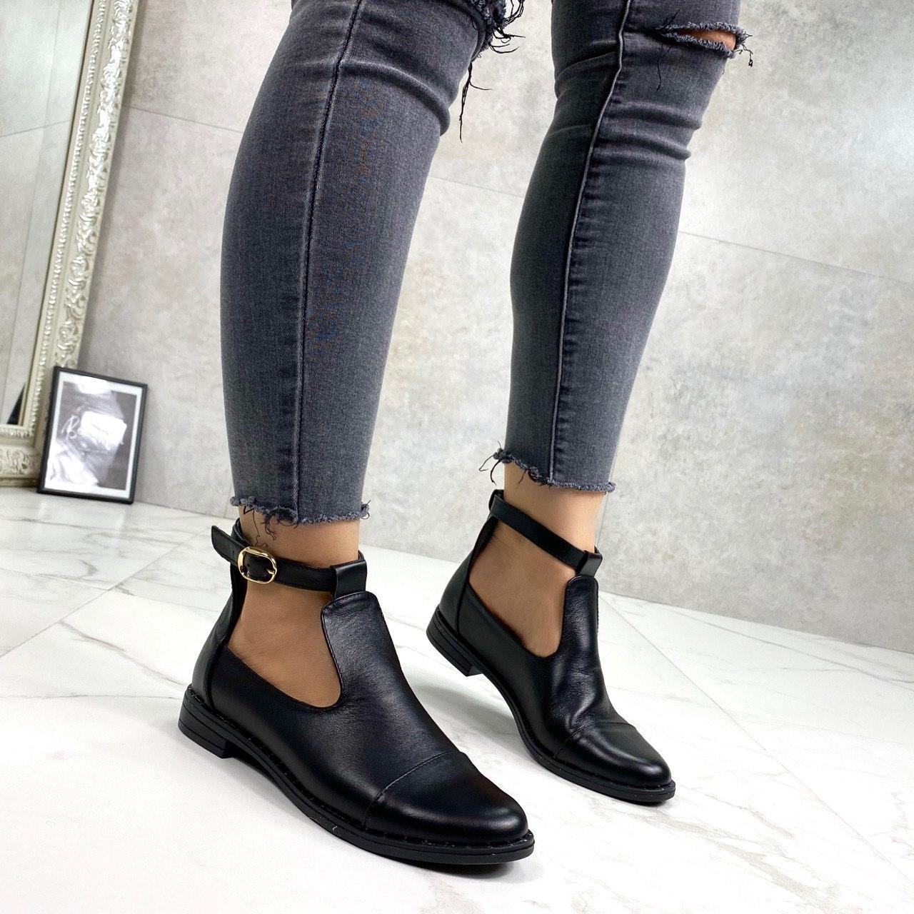 Женские ботинки ДЕМИ открытые черные натуральная кожа