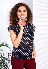 Женский легкий брючный костюм с блузкой в горошек бордовый, фото 2