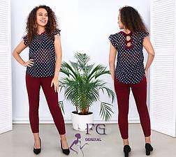 Женский легкий брючный костюм с блузкой в горошек бордовый, фото 3