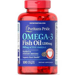 Полиненасыщенные жирные кислоты Omega-3 Fish Oil 1200 mg (100 кап) Puritan's Pride