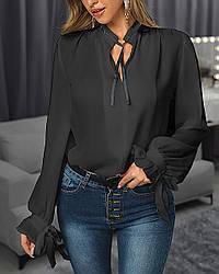 Нарядная красивая блузка с бантами на запястье 5 цветов