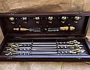"""Подарочный набор для шашлыка """"Казаки"""" (шампура, рюмки, нож, вилка), в буковом кейсе, фото 3"""