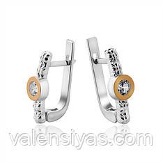 Нарядные серьги из серебра и золота с фианитом