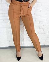 Стильные женские брюки с высокой посадкой, охра