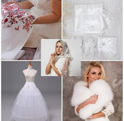 Свадебный текстиль, подвязка для невесты, шубки, кринолин, платки венчальные..