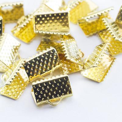 Концевик-зажим для лент 20 шт железо цвет золото 10х7х5 мм УТ004264