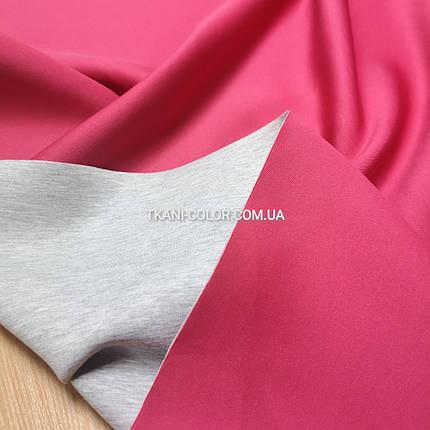 Трикотаж неопрен двусторонный малиновый с серым, фото 2
