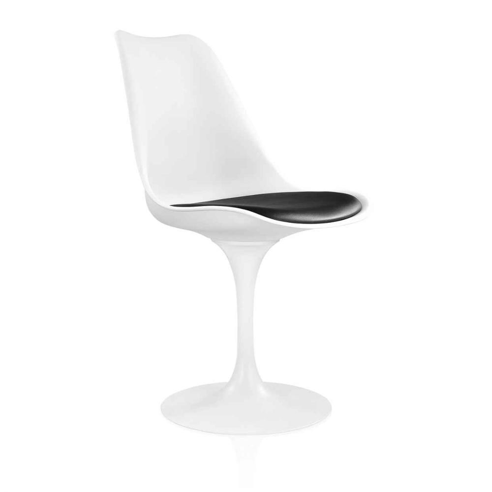 Стул дизайнерский Тюльпан белый пластик с черной подушкой от SDM Group