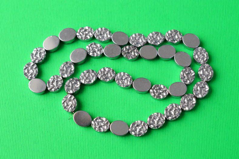 Бусины из гематита, овал, цвет серебристый, размер 10х8 мм, (20 шт)