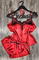 Красный пижамный комплект майка+шорты из атласа.