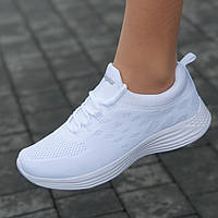 Кроссовки женские белые светлые сетка летние весенние модные для бега фитнеса (Код: М1661)