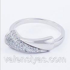 Кольцо серебряное с белыми мелкими фианитами