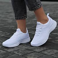 Кроссовки женские белые светлые сетка летние весенние модные для бега фитнеса (Код: М1661а)