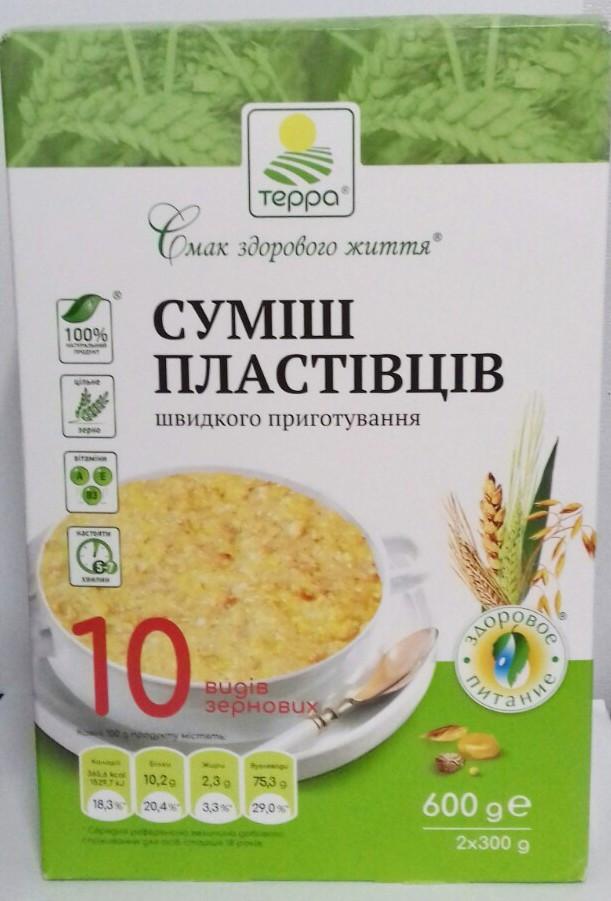 """Пластівці Суміш 10-злаків """"Терра"""" 0,6 кг"""