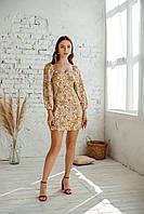 Короткое женское летнее платье из льна, фото 4