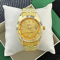 Женские кварцевые наручные часы Rolex Date Just Diamonds Gold