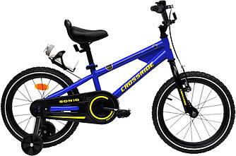 Велосипед дитячий Crossride Sonic 16 + бокові колеса і фляга Синій
