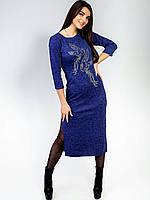 Vikamoda Довга сукня з принтом і розпірками з обох боків. Арт.2466