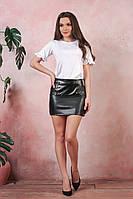 Короткая юбка с эко-кожи черный