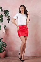 Короткая юбка с эко-кожи красный