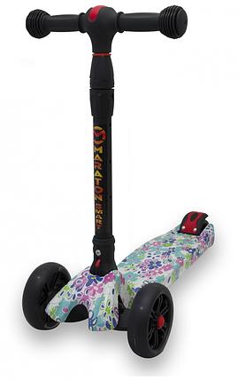 Детский Самокат Maraton со светящимися колесами SMART Print Цветочки, фото 2