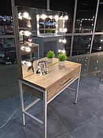 Стол для визажиста на металлической базе, зеркало с подсветкой и тумбой