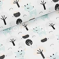 Хлопковая ткань Оленята и ёжики (белая), фото 1