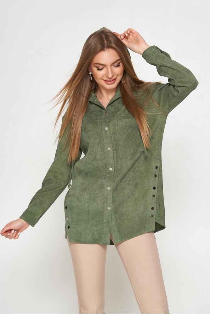 Женская вельветовая рубашка с капюшоном удлиненная хаки