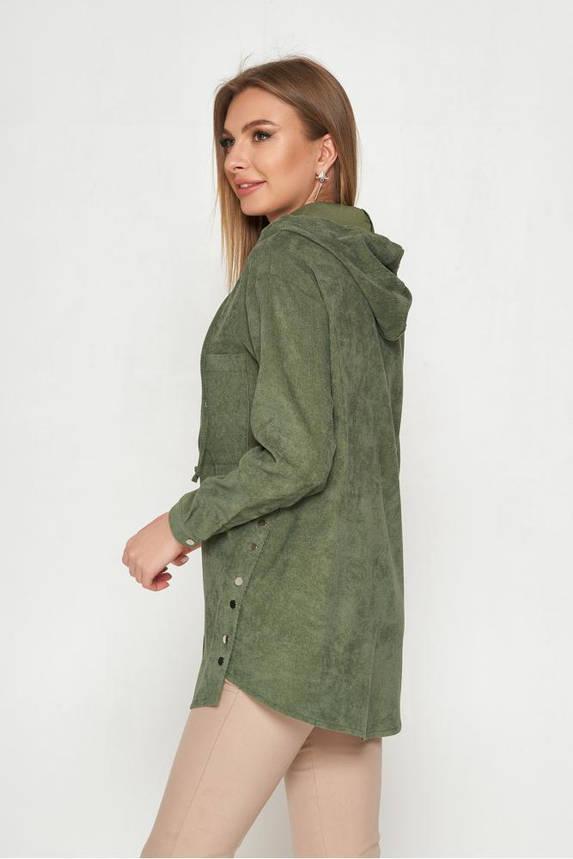 Женская вельветовая рубашка с капюшоном удлиненная хаки, фото 2