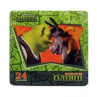 Карандаши цветные 24цв. MAESTRO Шрек в металлической коробке, шестигранные MIX 290205/S