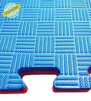 Мат татами 100*100*3 см Eva-Line Extra Quality синий/красный Плетёнка Anti-Slide 100 кг/м3