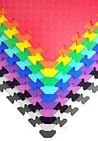 """Мягкий пол коврик-пазл """"Радуга"""" Eva-Line 50*50*1 см Плетёнка для детских комнат, садиков и школ"""