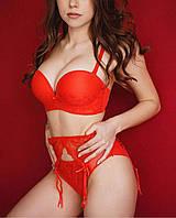 Сексуальное женское нижнее белье с вышивкой ,бюст анжелика , красный цвет, push-up, Weiyesi, размер 80АВ, фото 1