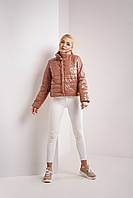 Весенняя женская светло-коричневая лаковая куртка размер S, M, L