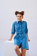 Детское подростковое платье-рубашка джинсового цвета из коттона с пояском размеры 146, 152, 158, 164