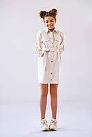 Бежевое детское платье для стильной девочки подросткового возраста в размерах 146, 152, 158, 164