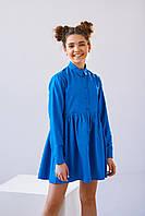 Нарядное подростковое платье для девочки Хмельницкий с длинным рукавом джинсового цвета 134, 140, 146, 152